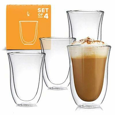 Latte Cups Double Walled Coffee Glasses Set of 4 - Clear Glass