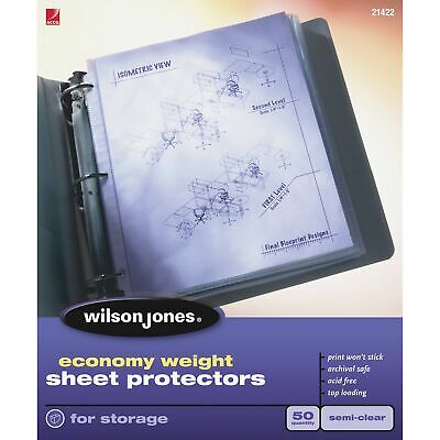 Economy Weight Top-loading Sheet Protectors, Semi-clear Finish, Letter, 50/box