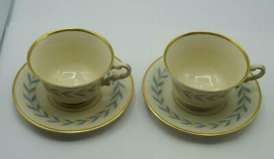 "Syracuse China Old Ivory  ""Sherwood"" Blue Laurel Footed Cups & Saucers, Set of 2"
