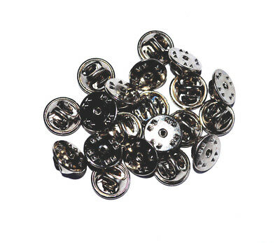20 x Pin Badge Butterfly Backs, Fixings, Clutch, Clasp, Clip, Lapel SILVER Tone