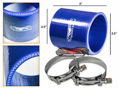 "2.5"" Silicone Hose/Intake/Intercooler Pipe Straight Coupler BLUE +T-Bolt Clamp"