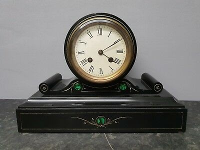 Vintage Black Slate & Malachite 8 Day Table Clock with Bell Strike