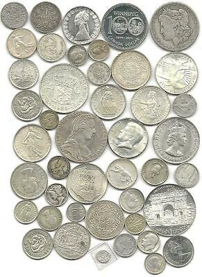 """World (44) Forty Four Old Silver Coins  #5140 """"great Big Lot & $4.00 Usa Ship"""""""
