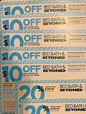 Bed Bath And Beyond Coupons: 5 x $10 off $30, 2 x 20% off single item (Expired)