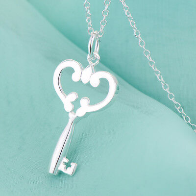 925 Sterling Silver Heart & Key Pendant with Chain Necklace 18,20 in.