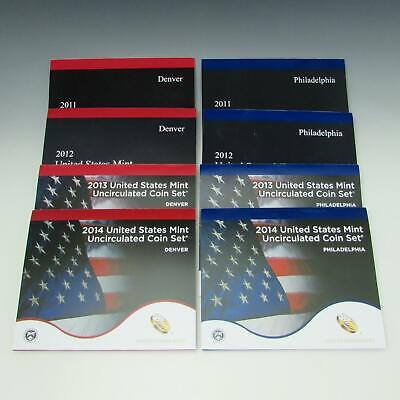 2011 2012 2013 2014 P & D US Mint UNCIRCULATED Coin Set Lot Philadelphia Denver