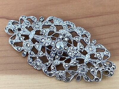 925 Sterling Silver Bp2539 Pure White And Translucent Vintage Cz & Marcasite Nature Flowers Brooch Pin