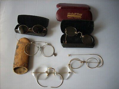 Lot of Antique Vintage 5 Eyeglasses 4 Eyeglass Cases Some for Parts and Repair