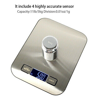 Stainless Steel 5KG Weighing Scale Digital LCD Electronic Kitchen Cooking Food