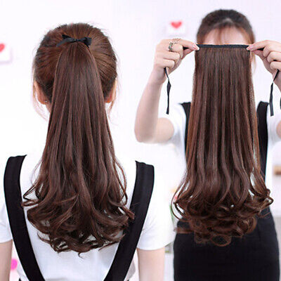 Women Wig Long Curly&Straight Ponytail Claw Clip Hairpiece Hair Extentions New