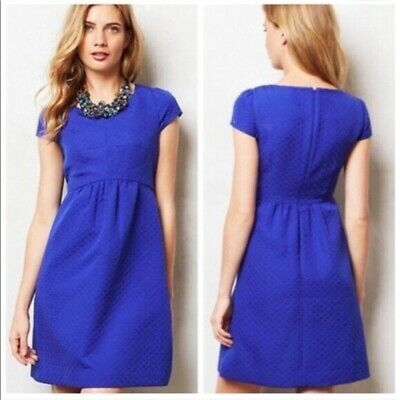 96a852e4a7 HD in Paris Anthropologie Empress Dress Size 0 Royal Blue Embossed Cap  Sleeve