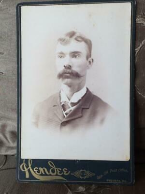 Antique Cabinet Card Victorian Photo Man Awesome Mustache Hendee Augusta Maine