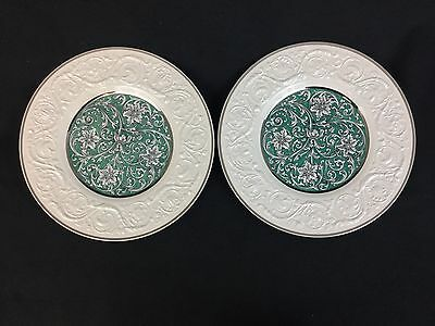 "Wedgwood Patrician Art Nouveau TWO 10 5/8"" Dinner Plates Turquoise Silver White"