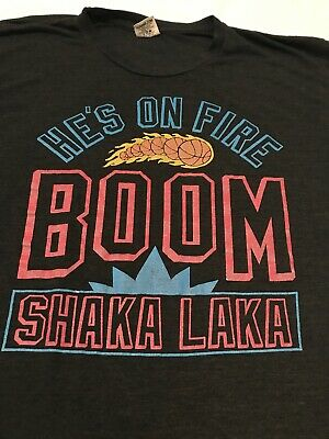 6c2ccd928 Vintage Homage Boom Shaka Laka He s On Fire Shirt Mens Large NBA JAM