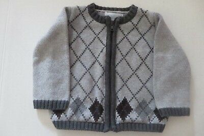 b1bc48399 Dylan & Abby Baby Boys Size 3-6 Mo Gray Cardigan Zip Sweater Outerwear  Argyle