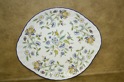 Minton Haddon Hall Blue rim Handled Cake Plate Bone China England S782
