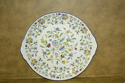 Minton Haddon Hall Blue rim Large Handled Cake Plate Bone China England S782