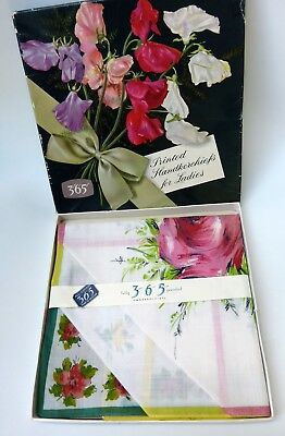 Vtg 60s Boxed Set 3 Lady Cotton Handkerchiefs Floral Hankies England New Old Sto