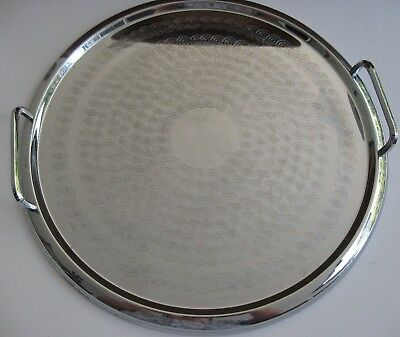 retro RANLEIGH stainless steel SERVING TRAY 33.5cm round DRINKS BAR DINING af
