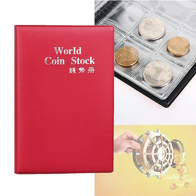 120 Coin Holder Collection Storage Collect Money Penny Pockets Album Book Red B☆