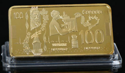 24KT Gold plated $100 Canada Banknote Gold brick 1 Troy oz bar -FREE SHIPPING
