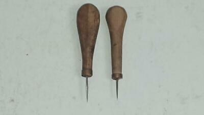Leather Leathercraft 2 vintage scratch Awls - wooden handles and copper Collars