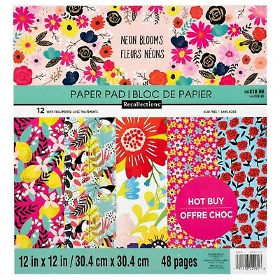 "Neon Blooms Paper Pad 12"" x 12"" by Recollections,Craft Supplies,Scrapbooking"