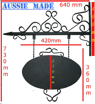 Wrought Iron Sign & Bracket Vintage Antique look House Shop Advertising Business