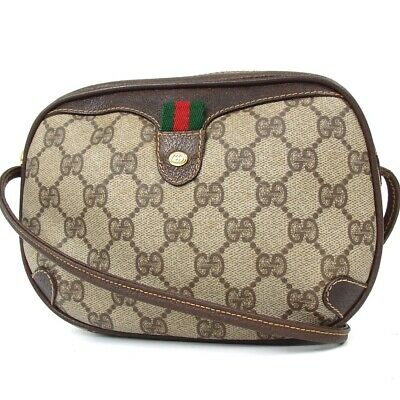 4ec245abb35 Authentic GUCCI GG pattern Old Gucci Shelley Line Shoulder Bag  PVC Leather Used