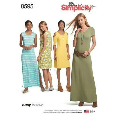 Simplicity Sewing Pattern 8595 Misses 6-24 Easy Knit Dresses Length Sleeve Var