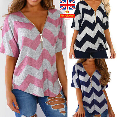 UK Women V Neck T-Shirt Ladies Summer Loose Tunic Casual Blouse Top Size 16-22