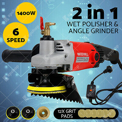 1400W 6-Speed Polisher Concrete & Stone Wet Polishing Kit with 12X Diamond Pads