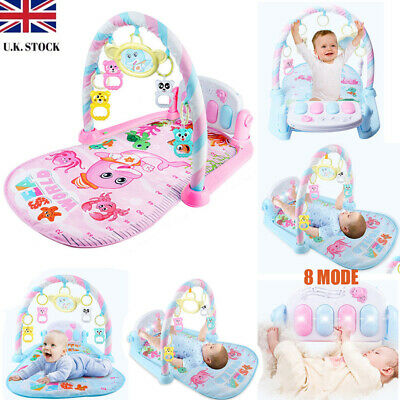 8 MODE Baby Gym Play Mat Lay & Play 3 in 1 Fitness + Music + Lights Fun Piano UK
