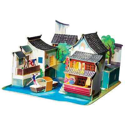 3D Wooden Doll House DIY Set Furniture Kit Girls Play Dollhouse Puzzle Toys
