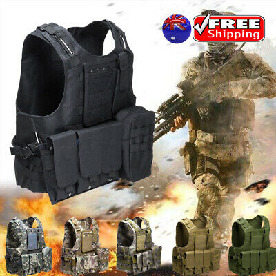 Outdoor CS Military Molle Combat Assault Plate Carrier Tactical Hunting Vest AU