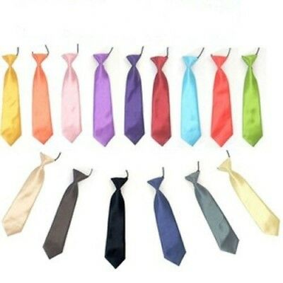 Satin Elastic Neck Tie for Wedding Prom Boys Children School Creative Kids Ties