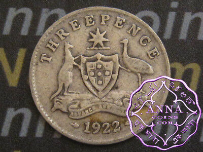 Australia 1922 George V Threepence X1, Average Circulated Condition