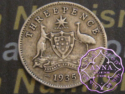 Australia 1935 George V Threepence X1, Average Circulated Condition