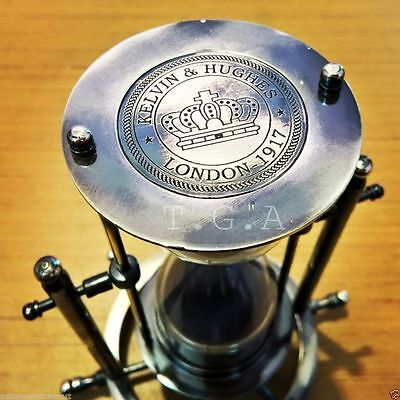 Brass Sand Timer Hourglass Wheel Compass Base & Hanging Antique Gift
