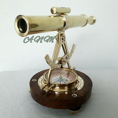 Alidade Telescope With Wooden Base Compass Nautical Brass