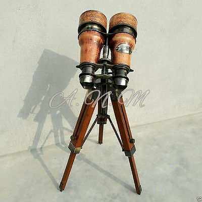 Binoculars with wooden Tripod Leather Covered Maritime Collectible