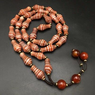 Rare Old Tibet Agate Carving Vase Shape Linear Beads Lucky Necklace..