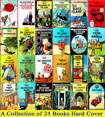 Tintin Comic Books Collection of 24 Books - Brand New  Tintin Set - Hardcovers