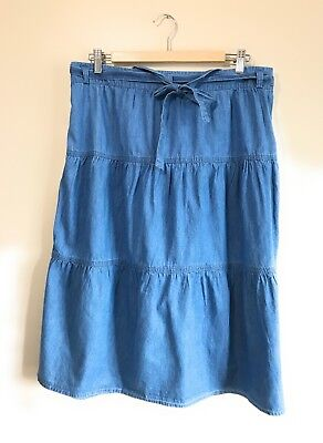 3ff794832f1bd Christopher   Banks Denim Jean Womens Skirt Modest Long Chambray Tiered  size 14