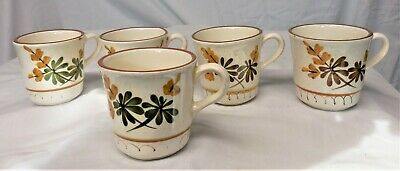 """Set of 5 Vintage STANGL Golden Blossom Hand Painted 3"""" Coffee Cups ~ AS SHOWN"""