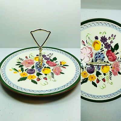 Stangl Pottery Fruits and Flowers Vintage Serving Dish Tray Handle RARE Dessert
