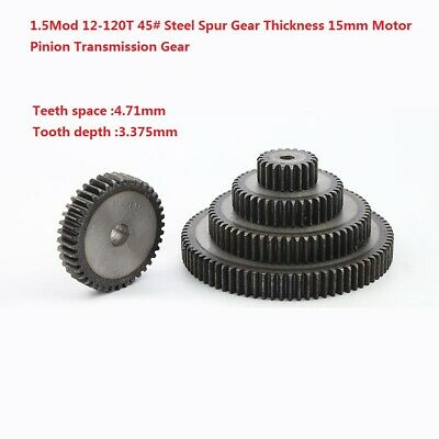 1.5Mod 12-120T 45# Steel Spur Gear Thickness 15mm Motor Pinion Transmission Gear