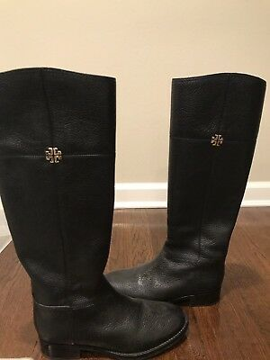 550f63fe015c89 Tory Burch Black Leather Riding Boots Size 7