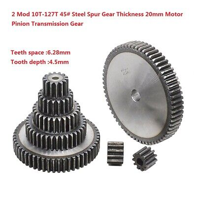 2 Mod 10T-127T 45# Steel Spur Gear Thickness 20mm Motor Pinion Transmission Gear