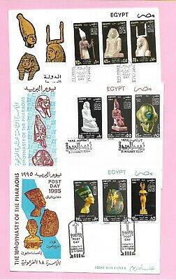 Egypt 3 FDC Archaeology  Ägypten Post Day 93,94,95 Pharaohs King of Families